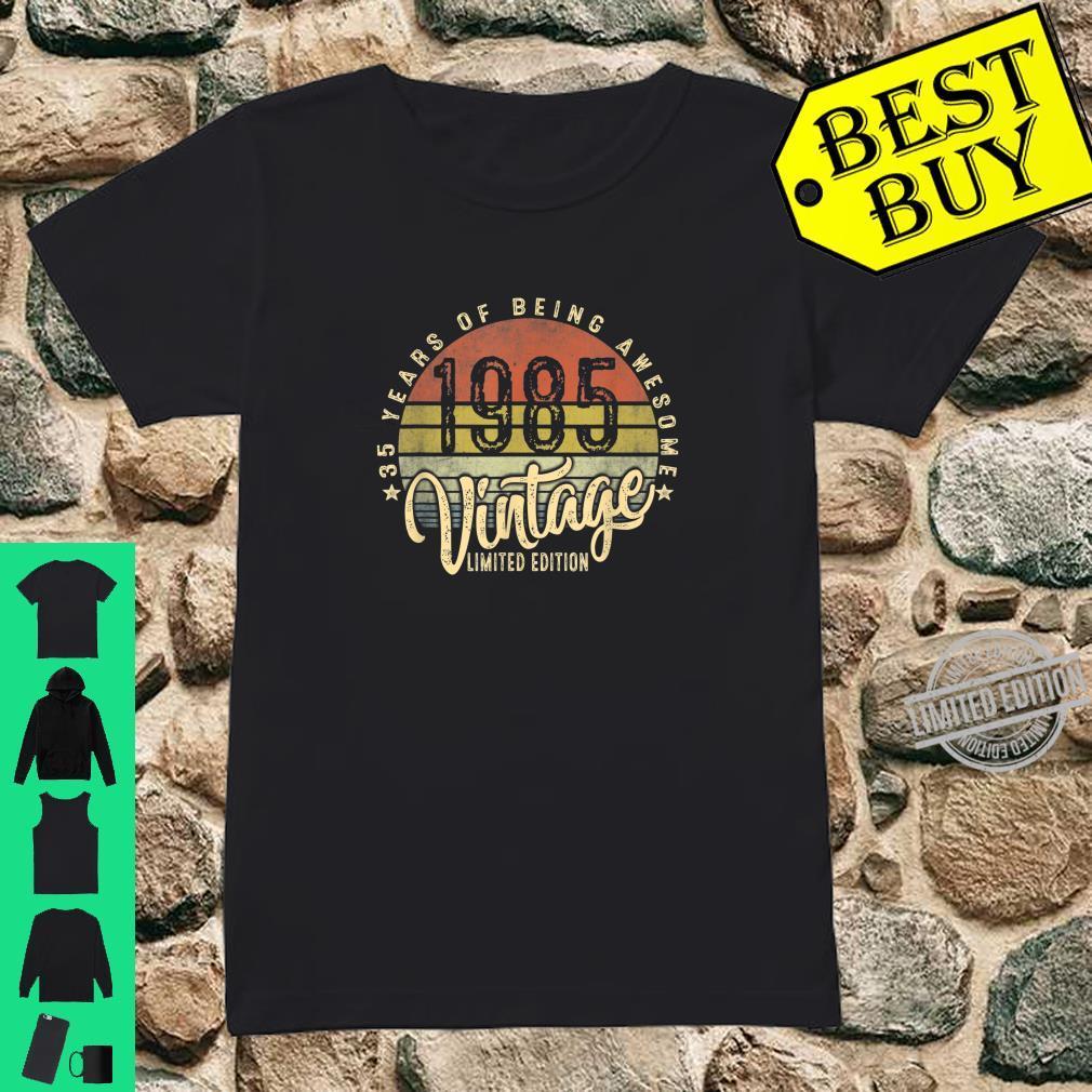35th Birthday Vintage 1985 Retro Bday 35 Years Old Shirt ladies tee