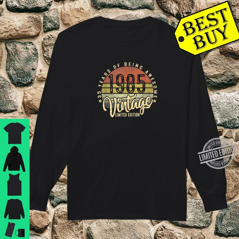 35th Birthday Vintage 1985 Retro Bday 35 Years Old Shirt long sleeved