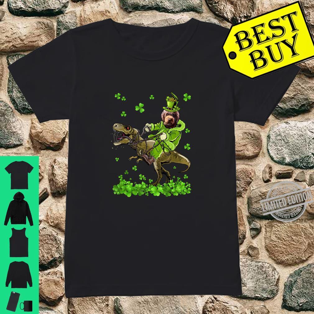Barbet Riding Dinosaur St Patricks Day Shirt ladies tee