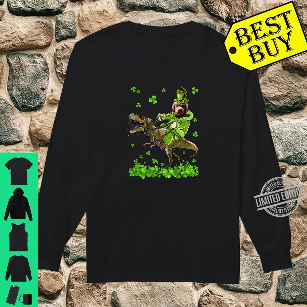 Barbet Riding Dinosaur St Patricks Day Shirt long sleeved