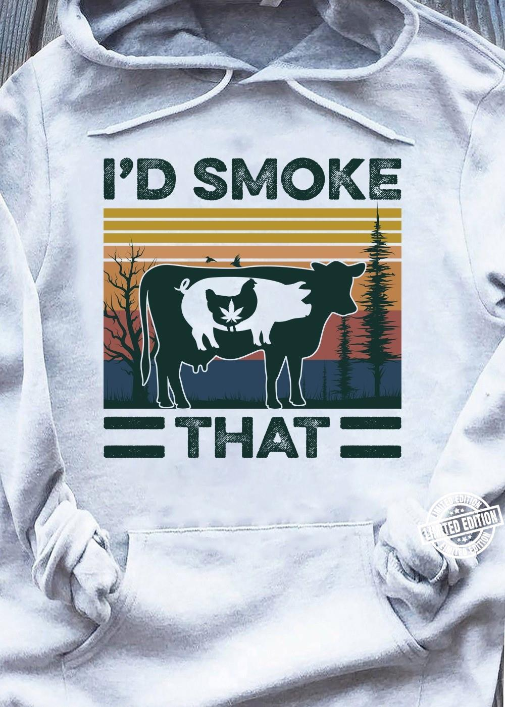 Cow Pig Chicken Weed I'd Smoke That Vintage shirt