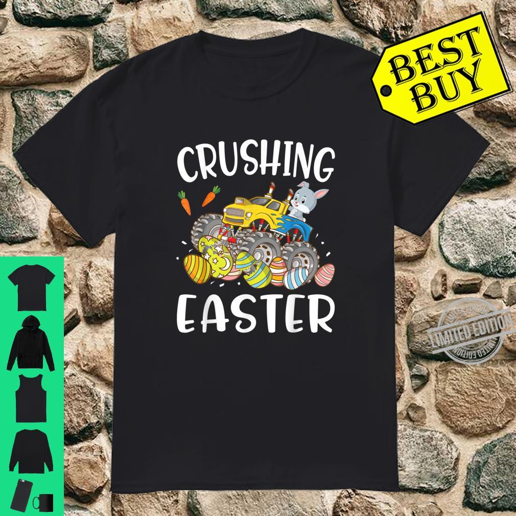 Cute Bunny Driving Crushing Easter Eggs Happy Easter Day Shirt