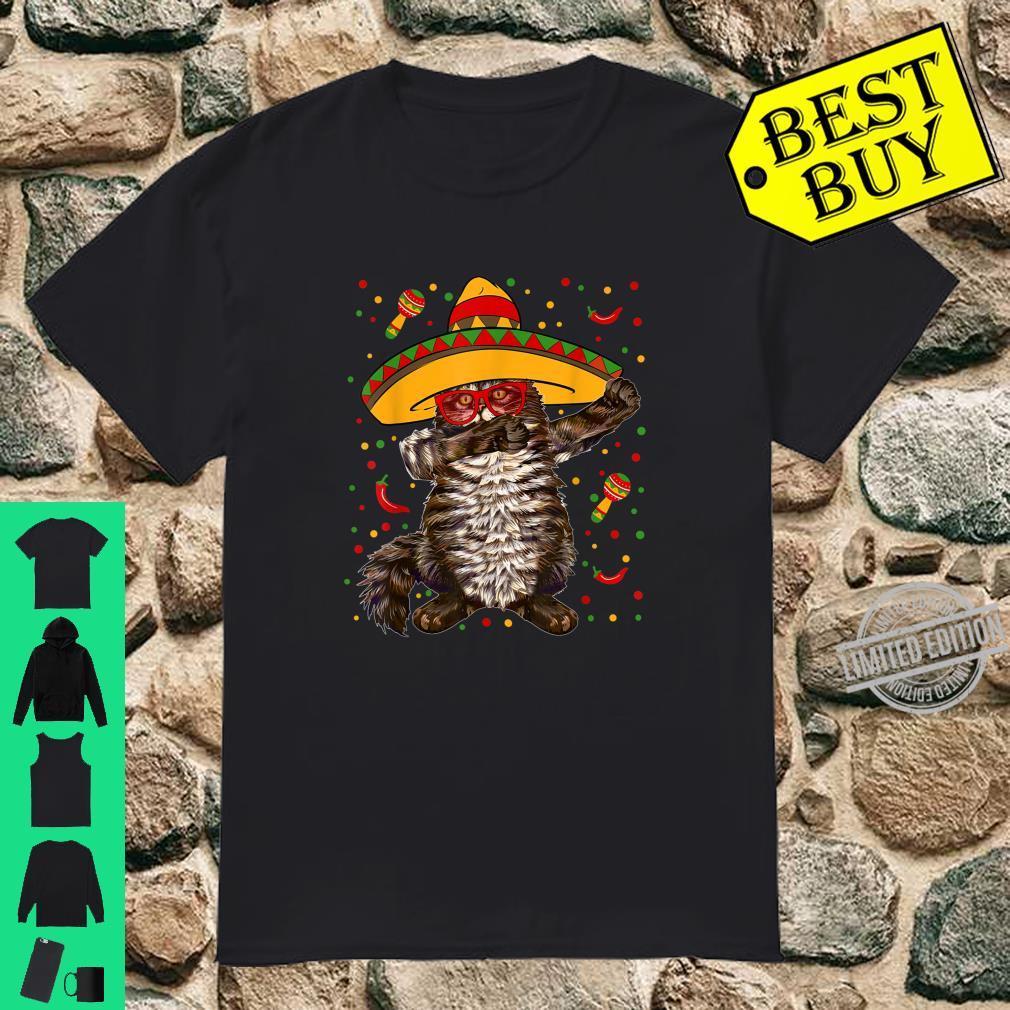 Dabbing Maine Coon Cat Mexican Sombrero Cinco De Mayo Shirt