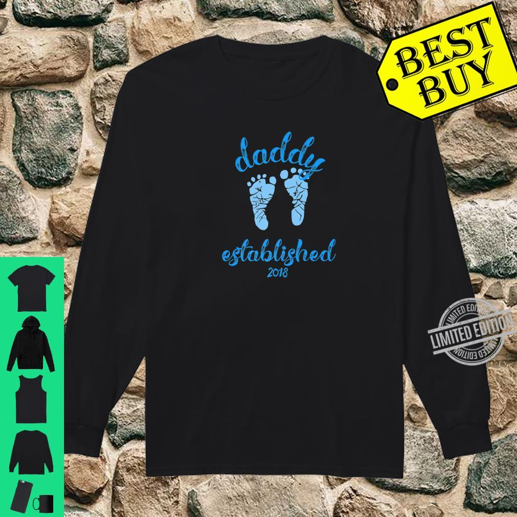 Daddy Established 2018 Blue Footprints New Father Shirt long sleeved