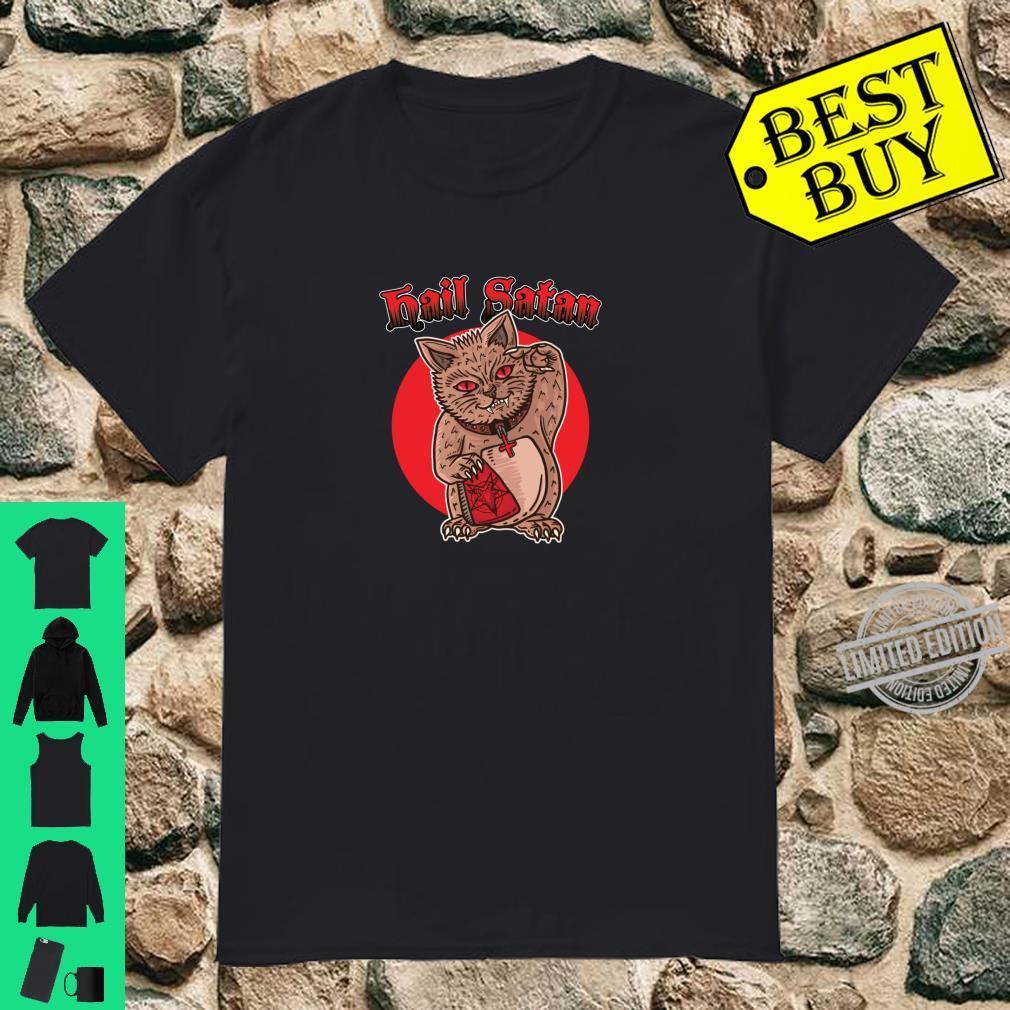 Death Metal Winkende Katze Asien Glück Hail Satan Rock Musik Shirt