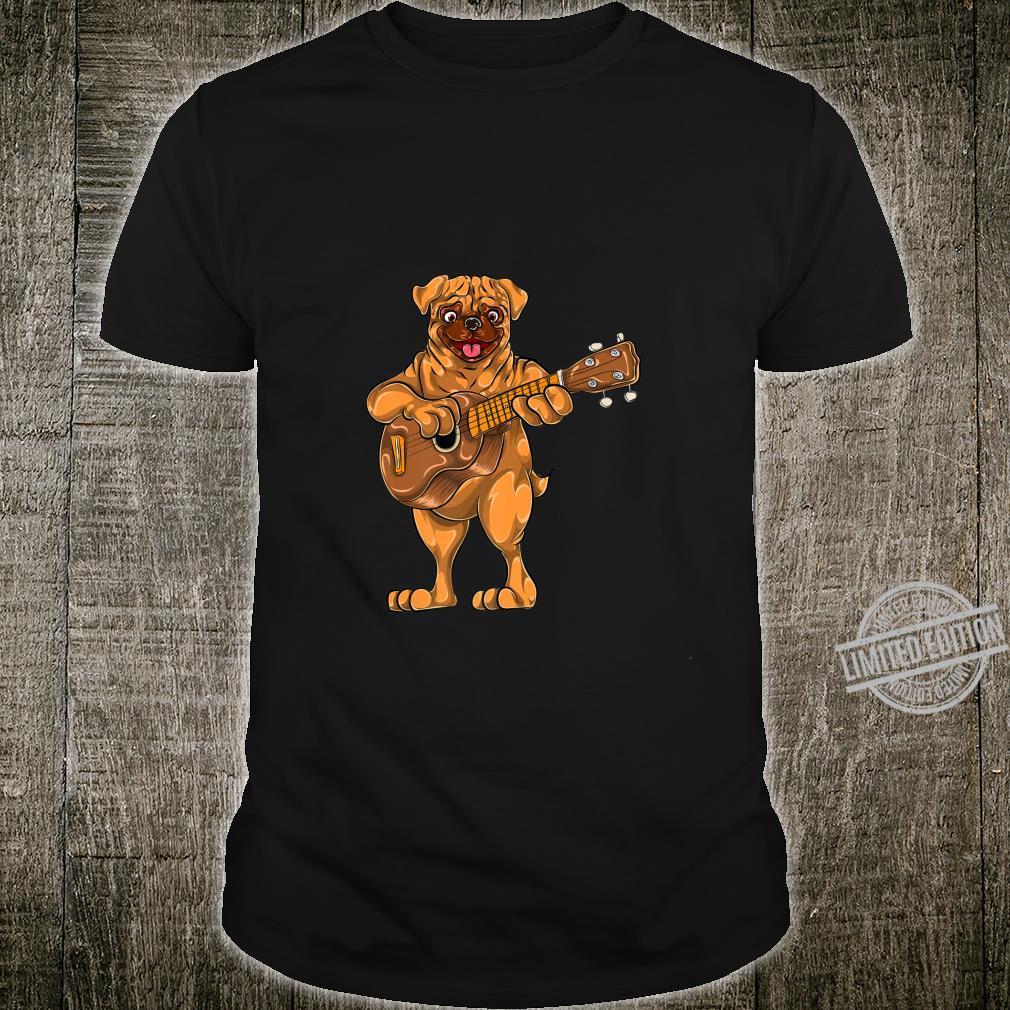 Dog Animal Cartoon Bass Guitar Musician Boys Pug Shirt