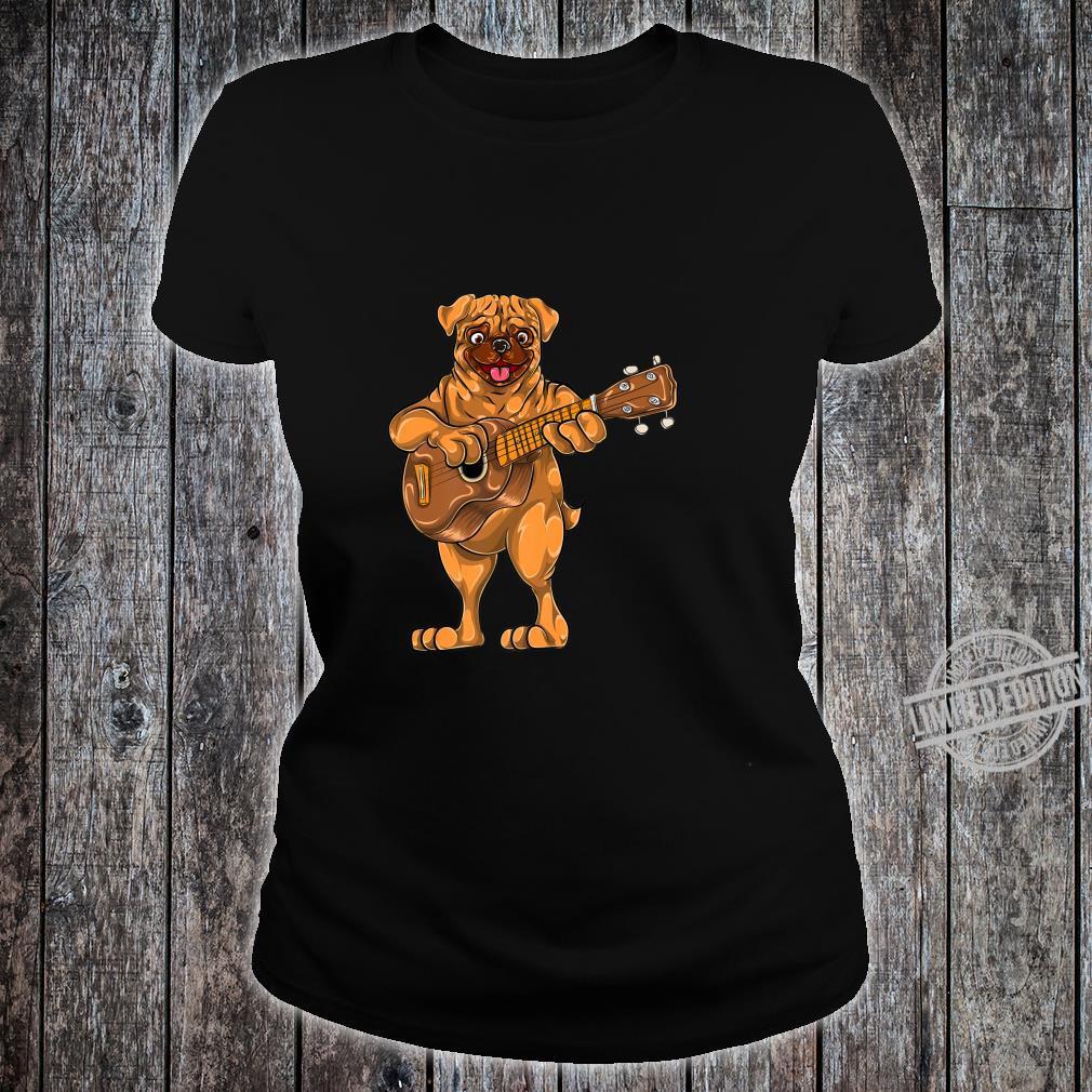 Dog Animal Cartoon Bass Guitar Musician Boys Pug Shirt ladies tee