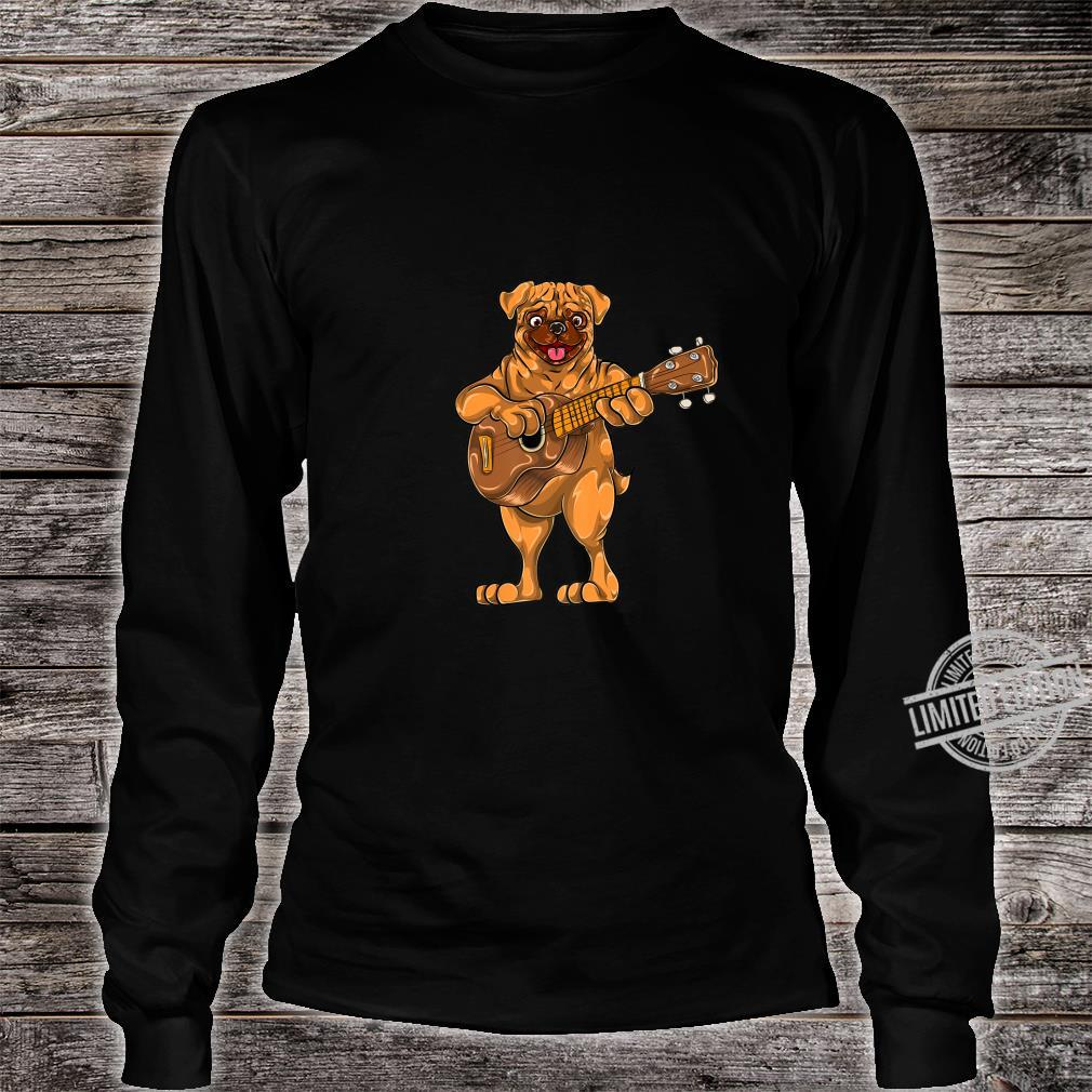 Dog Animal Cartoon Bass Guitar Musician Boys Pug Shirt long sleeved