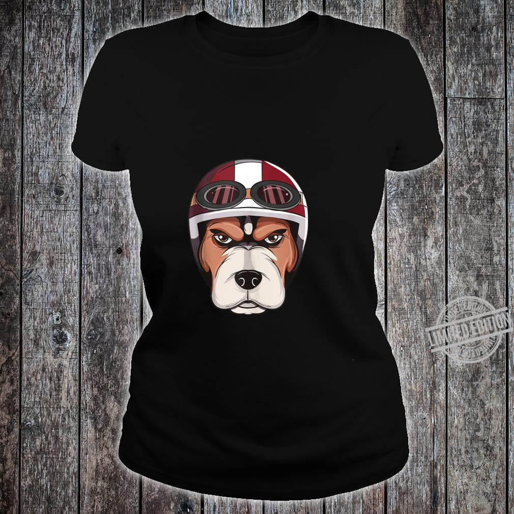 Dog with Vintage Motorcycle Helmet and Goggles Shirt Shirt ladies tee