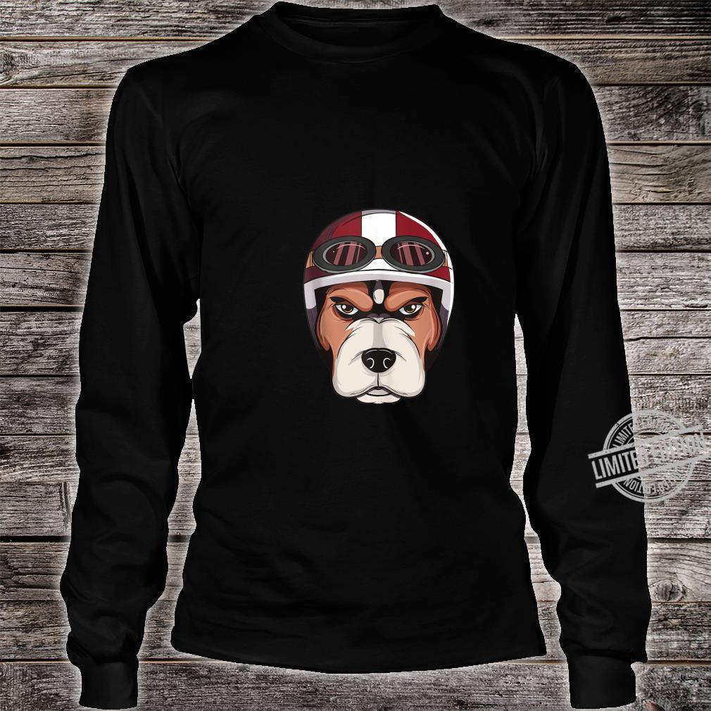 Dog with Vintage Motorcycle Helmet and Goggles Shirt Shirt long sleeved