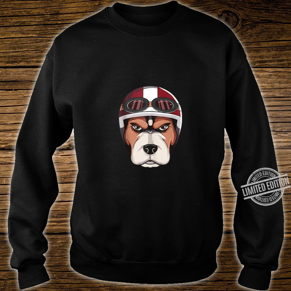 Dog with Vintage Motorcycle Helmet and Goggles Shirt Shirt sweater