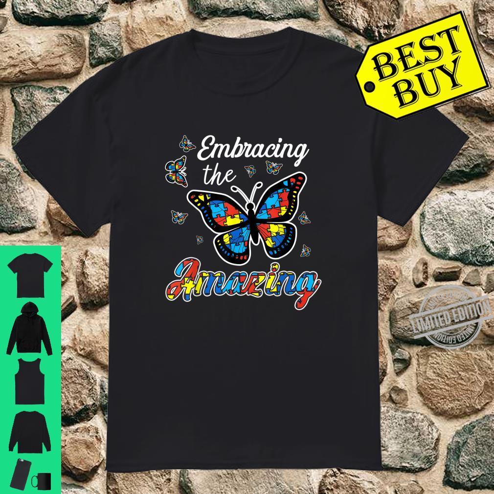 Embracing Amazing Autism Butterfly Custom Print Shirt