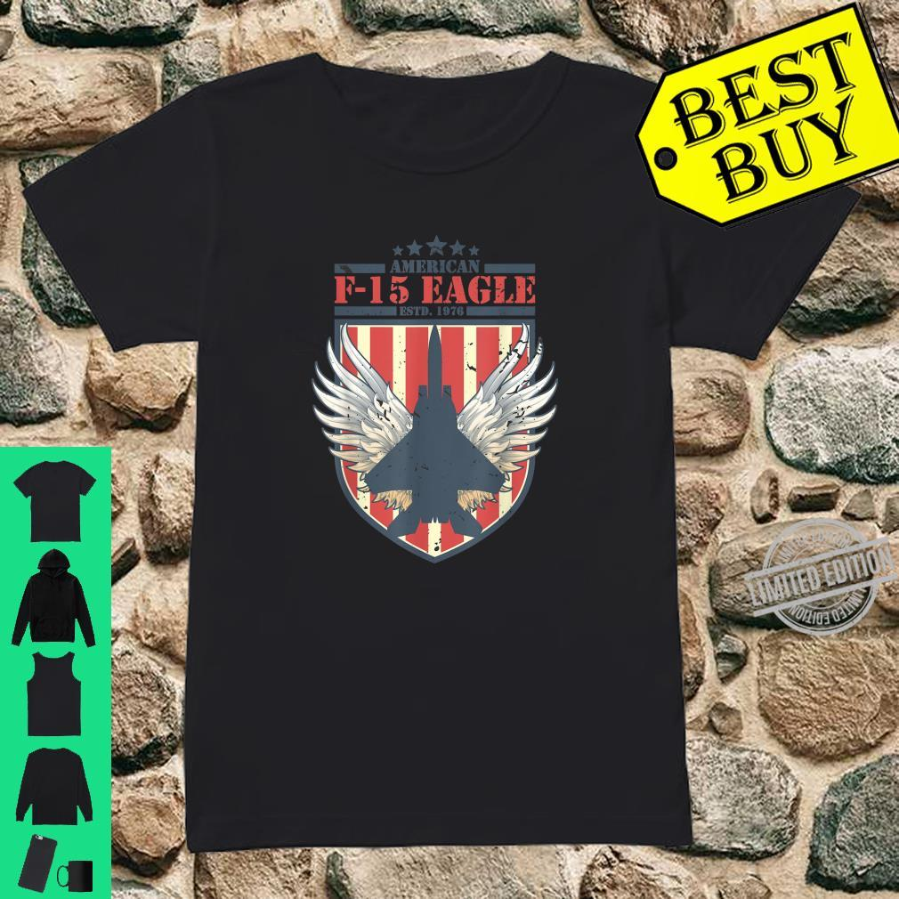 F15 Strike Eagle Fighter jet Distressed Flag Shirt ladies tee