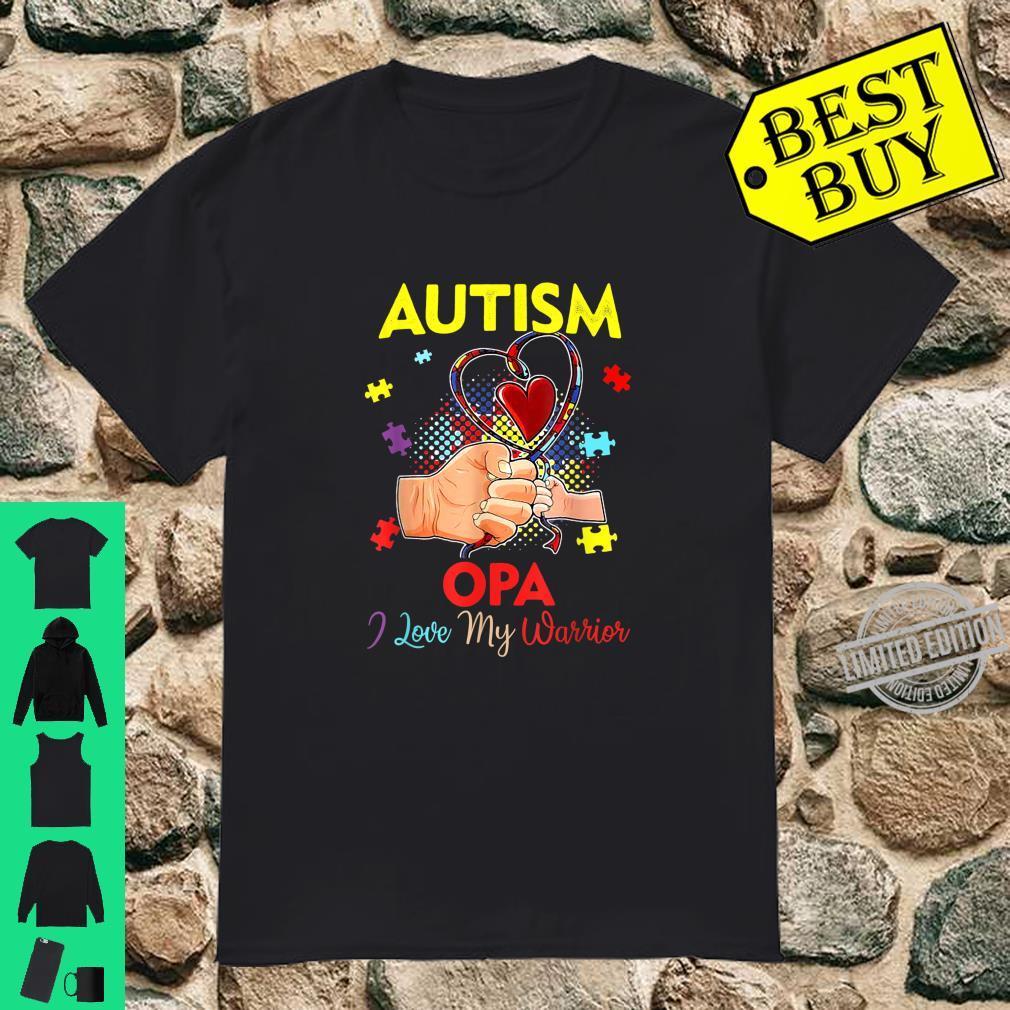 Funny Autism Awareness Opa Of A Warrior Shirt