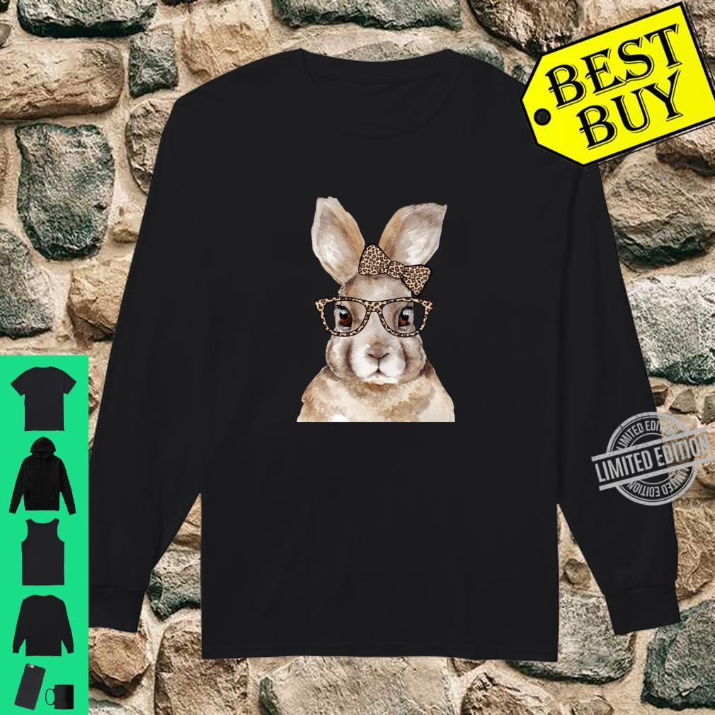 Funny Hipster Easter Bunny Rabbit Glasses Leopard Print Bow Shirt long sleeved