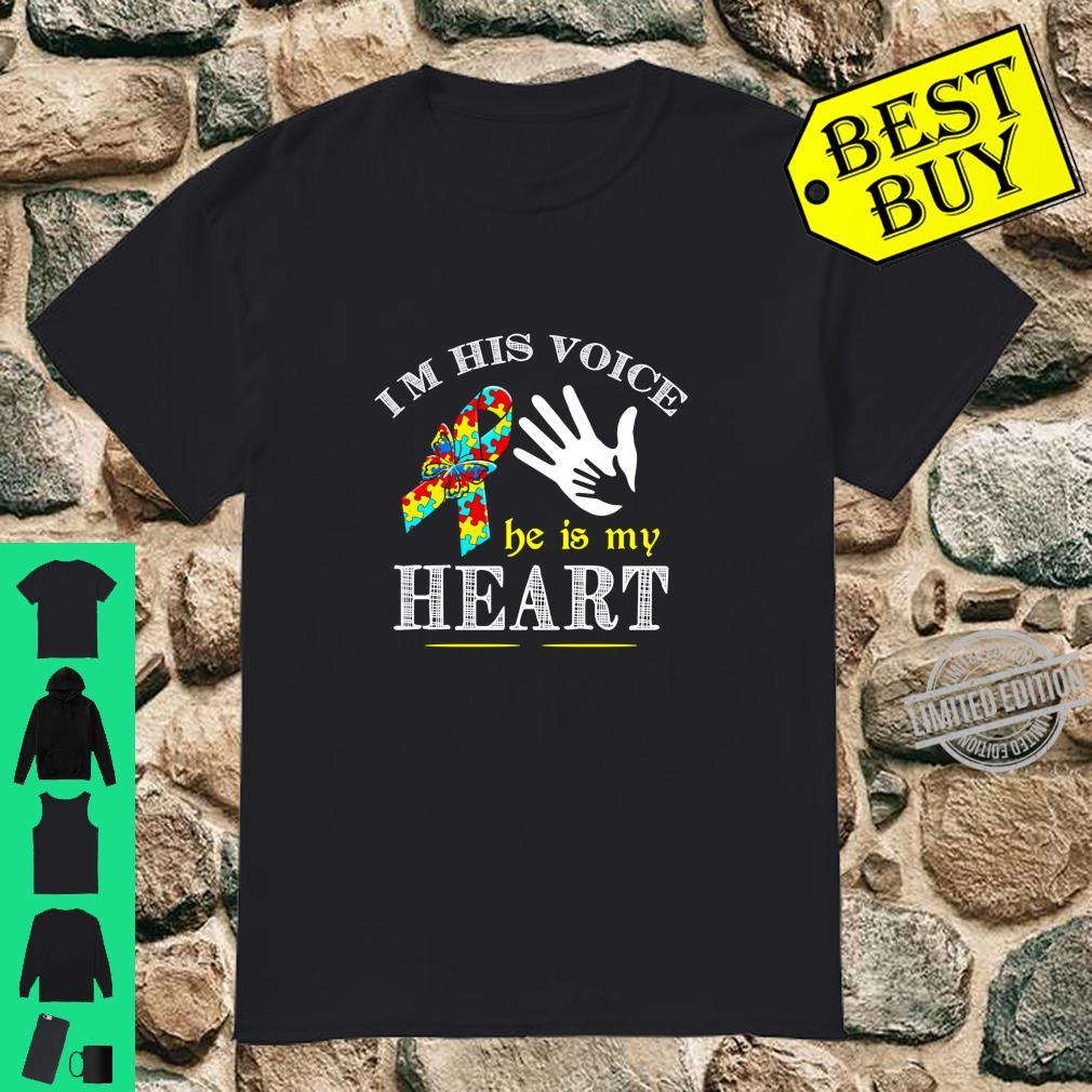 I'm His Voice He My Heart Puzzle Autism Mom Dad Aware Month Shirt