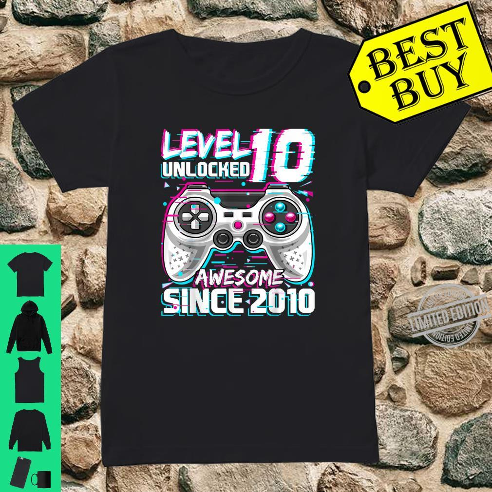 Level 10 Unlocked Awesome 2010 Video Game 10th Birthday Shirt ladies tee