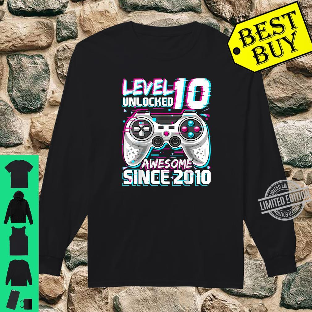 Level 10 Unlocked Awesome 2010 Video Game 10th Birthday Shirt long sleeved