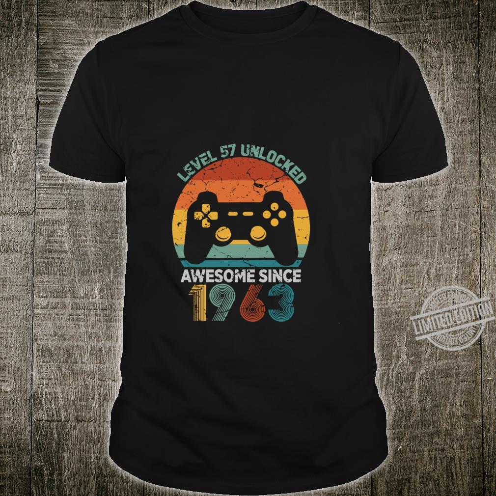 Level 57 Unlocked Awesome 1963 Video Game 57th Birthday Shirt