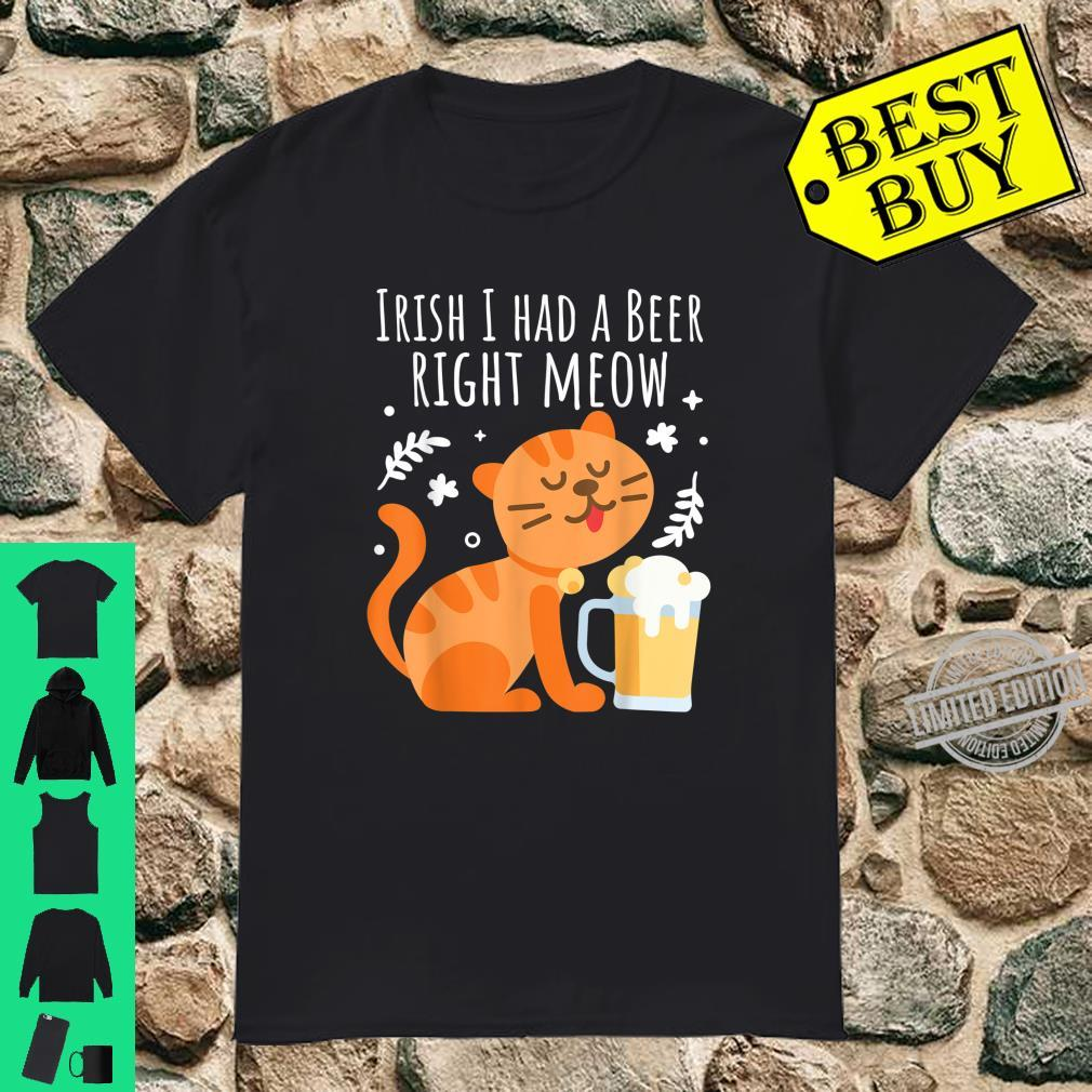 One Beer Right Meow Cat St Patricks Day 2020 Shirt