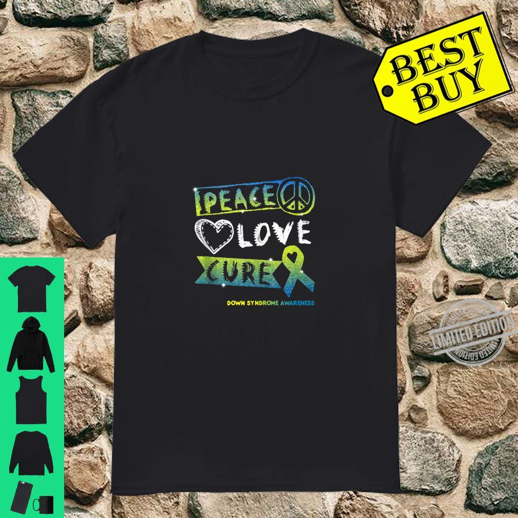 Peace Love Cure Ribbon Down Syndrome Awareness Shirt
