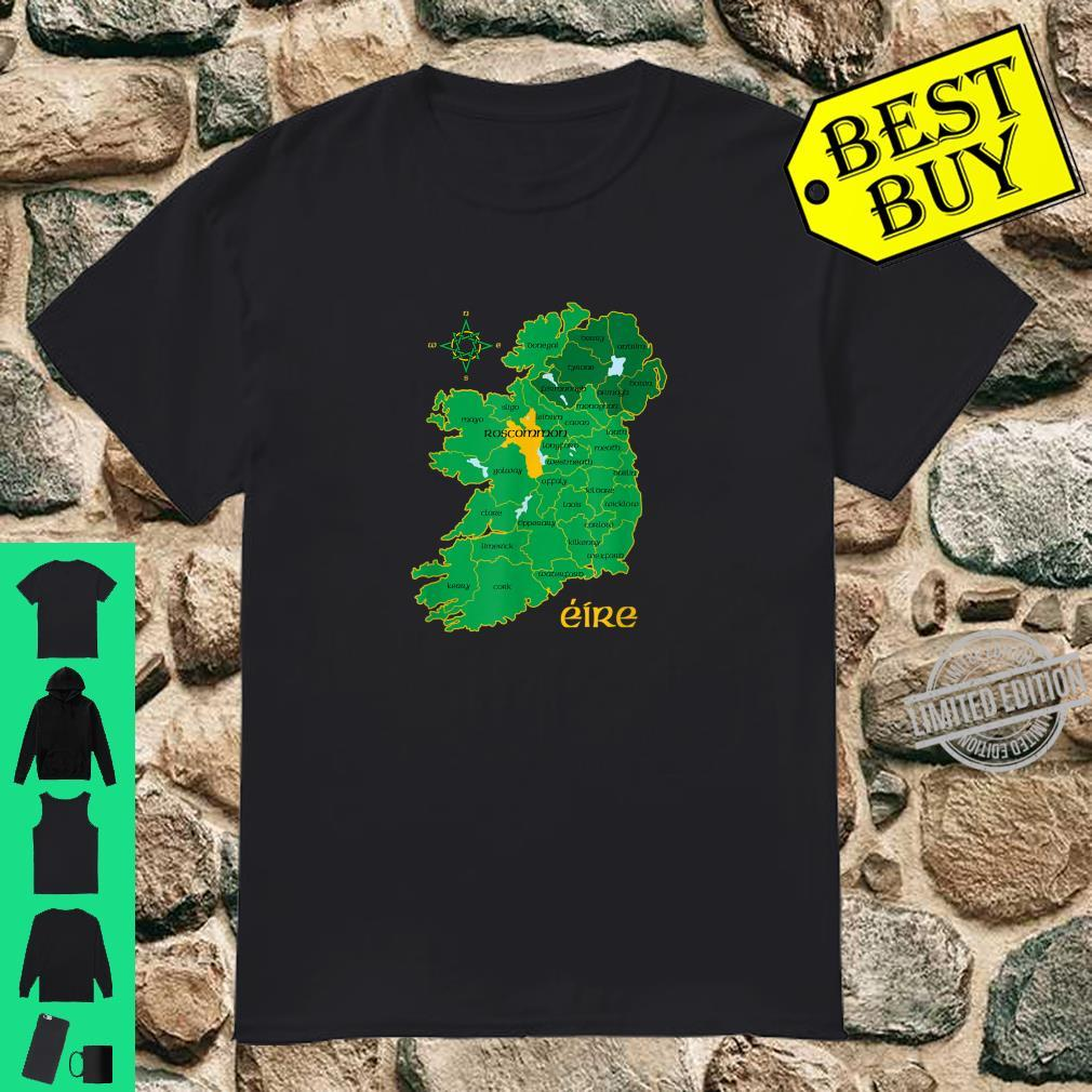Roscommon Ireland County Map Eire Irish Travel Celtic Shirt